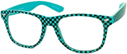 Angle of SW Clear Checkered Retro Style #548 in Aqua Blue Checkered, Women's and Men's