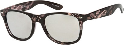 Angle of SW Mirrored Tribal Style #526 in Black/Light Pink Frame, Women's and Men's