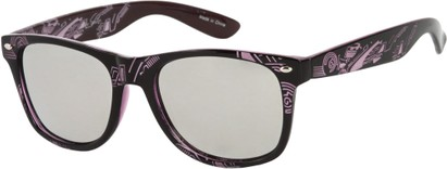 Angle of SW Mirrored Tribal Style #526 in Black/Purple Frame, Women's and Men's