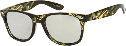 Angle of SW Mirrored Tribal Style #526 in Black/Yellow Frame, Women's and Men's