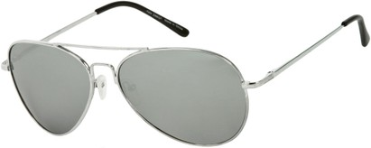 Angle of SW Mirrored Aviator Style #3311 in Silver Frame with Mirrored Lenses, Women's and Men's
