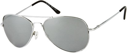 Angle of SW Mirrored Aviator Style #786 in Silver Frame with Smoke Mirrored Lenses, Women's and Men's