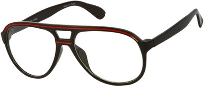 Angle of SW Clear Aviator Style #8915 in Black/Red Frame, Women's and Men's