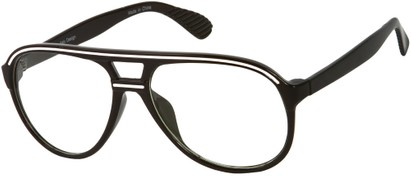 Angle of SW Clear Aviator Style #8915 in Black/White Frame, Women's and Men's