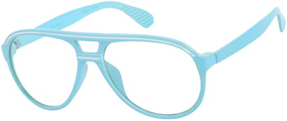 Angle of SW Clear Aviator Style #8915 in Light Blue/White Frame, Women's and Men's