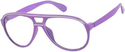Angle of SW Clear Aviator Style #8915 in Light Purple/White Frame, Women's and Men's