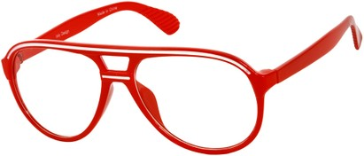 Angle of SW Clear Aviator Style #8915 in Red/White Frame, Women's and Men's