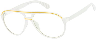 Angle of SW Clear Aviator Style #8915 in White/Yellow Frame, Women's and Men's