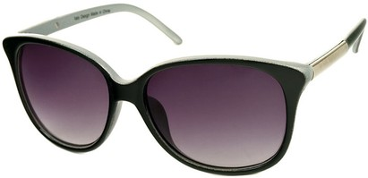 Angle of SW Two-Tone Cat Eye Style #829 in Black/Silver Frame, Women's and Men's