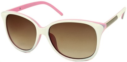 Angle of SW Two-Tone Cat Eye Style #829 in White/Pink, Women's and Men's