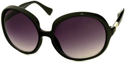 Angle of SW Oversized Round Style #1133 in Black Frame with Smoke Lenses, Women's and Men's