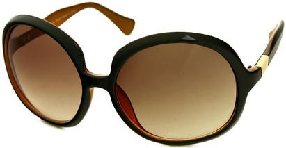 Angle of SW Oversized Round Style #1133 in Black/Orange Two-Tone Frame with Amber Lenses, Women's and Men's