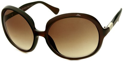 Angle of SW Oversized Round Style #1133 in Brown Frame with Amber Lenses, Women's and Men's
