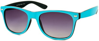 Angle of SW Bright Retro Style #809 in Light Blue/Black Frame, Women's and Men's