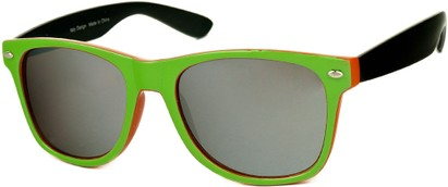 Angle of SW Mirrored Retro Style #446 in Lime Green/Orange/Black, Women's and Men's