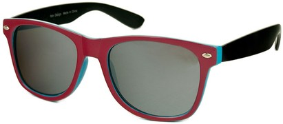 Angle of SW Mirrored Retro Style #446 in Pink/Light Blue/Black, Women's and Men's