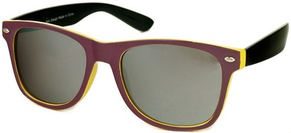 Angle of SW Mirrored Retro Style #446 in Purple/Yellow/Black, Women's and Men's
