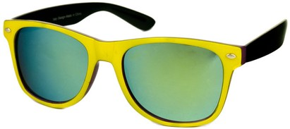 Angle of SW Mirrored Retro Style #446 in Yellow/Purple/Black, Women's and Men's