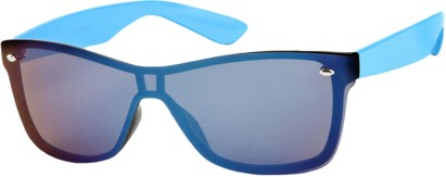 Angle of SW Retro Shield Style #784 in Blue Frame with Mirrored Lenses, Women's and Men's