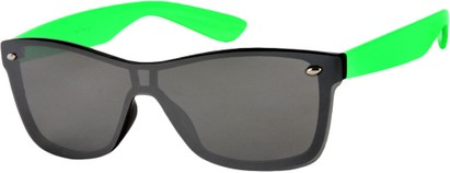 Angle of SW Retro Shield Style #784 in Green Frame with Mirrored Lenses, Women's and Men's