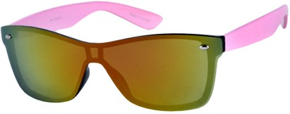 Angle of SW Retro Shield Style #784 in Light Pink Frame with Mirrored Lenses, Women's and Men's