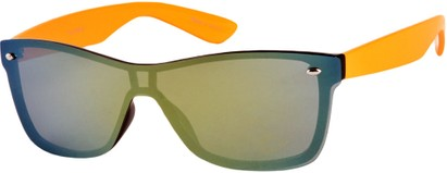 Angle of SW Retro Shield Style #784 in Orange Frame with Mirrored Lenses, Women's and Men's