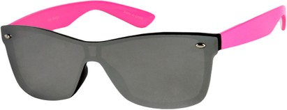 Angle of SW Retro Shield Style #784 in Hot Pink Frame with Mirrored Lenses, Women's and Men's