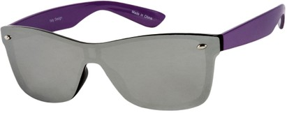 Angle of SW Retro Shield Style #784 in Purple Frame with Mirrored Lenses, Women's and Men's