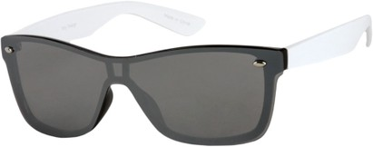 Angle of SW Retro Shield Style #784 in White Frame with Mirrored Lenses, Women's and Men's