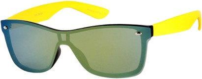 Angle of SW Retro Shield Style #784 in Yellow Frame with Mirrored Lenses, Women's and Men's