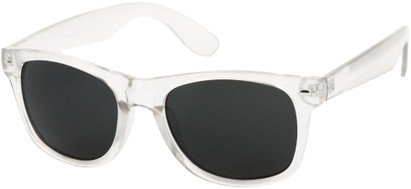 Angle of Frost #54321 in Clear Frame with Smoke Lenses, Women's and Men's Retro Square Sunglasses