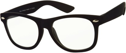Angle of Bonaparte #9962 in Black Frame with Clear Lenses, Women's and Men's Retro Square Sunglasses