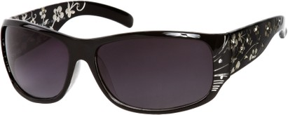 Angle of SW Floral Style #820 in Black Frame, Women's and Men's