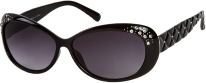 Angle of SW Rhinestone Style #858 in Black Frame with Smoke Lenses, Women's and Men's