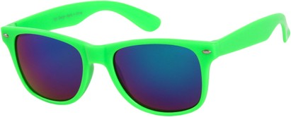 Angle of SW Mirrored Style #54060 in Green Frame, Women's and Men's