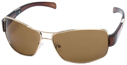 Angle of SW Aviator Style #4729 in Gold and Brown Frame with Amber Lenses, Women's and Men's