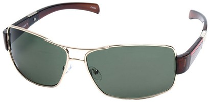 Angle of SW Aviator Style #4729 in Gold and Brown Frame with Green Lenses, Women's and Men's