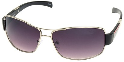 Angle of SW Aviator Style #4729 in Silver and Black Frame, Women's and Men's