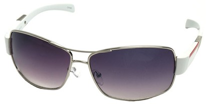 Angle of SW Aviator Style #4729 in Silver and White Frame, Women's and Men's