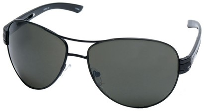 Angle of SW Aviator Style #31020 in Black Frame with Green Lenses, Women's and Men's