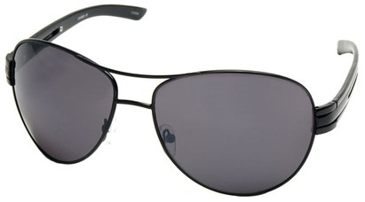 Angle of SW Aviator Style #31020 in Black Frame with Smoke Lenses, Women's and Men's