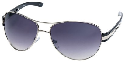 Angle of SW Aviator Style #31020 in Silver and Black Frame, Women's and Men's