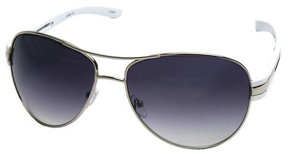 Angle of SW Aviator Style #31020 in Silver and White Frame, Women's and Men's