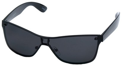 Angle of SW Shield Style #8003 in Black Frame with Smoke Lenses, Women's and Men's