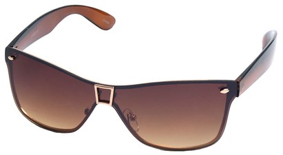 Angle of SW Shield Style #8003 in Brown and Gold Frame, Women's and Men's