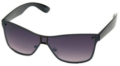 Angle of SW Shield Style #8003 in Grey and Black Frame, Women's and Men's