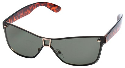 Angle of SW Shield Style #8003 in Tortoise and Gold Frame, Women's and Men's