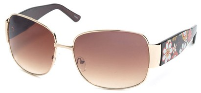 Angle of SW Floral Aviator Style #60846 in Gold and Black Frame, Women's and Men's