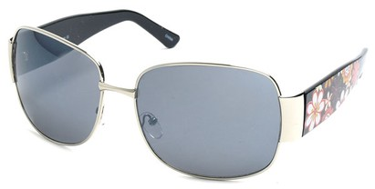 Angle of SW Floral Aviator Style #60846 in Silver and Black Frame, Women's and Men's