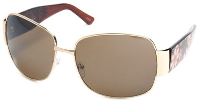 Angle of SW Floral Aviator Style #60846 in Gold and Brown Frame, Women's and Men's